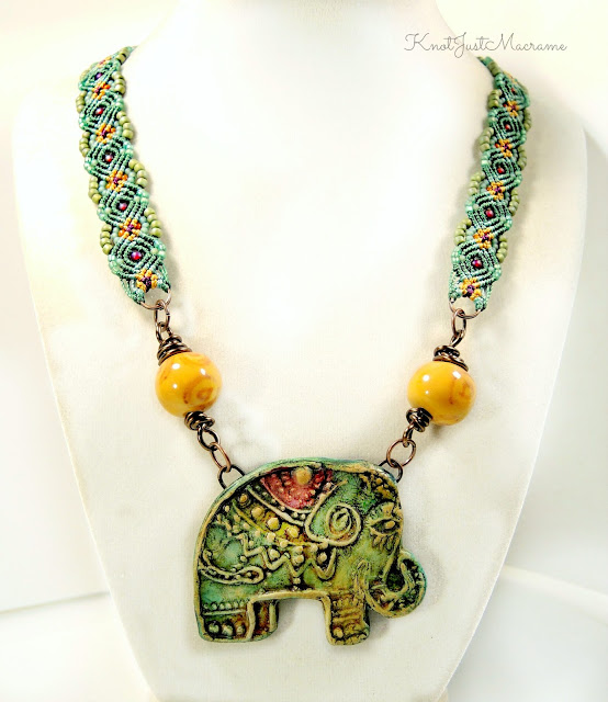 Macrame neckace by Sherri Stokey with elephant pendant from Staci Louise Originals.