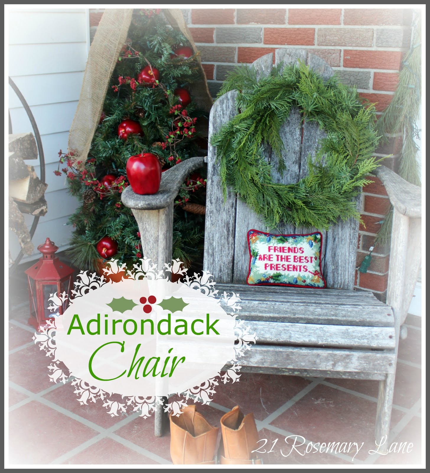 i know ive already shared with you my decorated front porch but as it is my nature more often then not just when i think i am done with something i may - Decorating Adirondack Chairs For Christmas