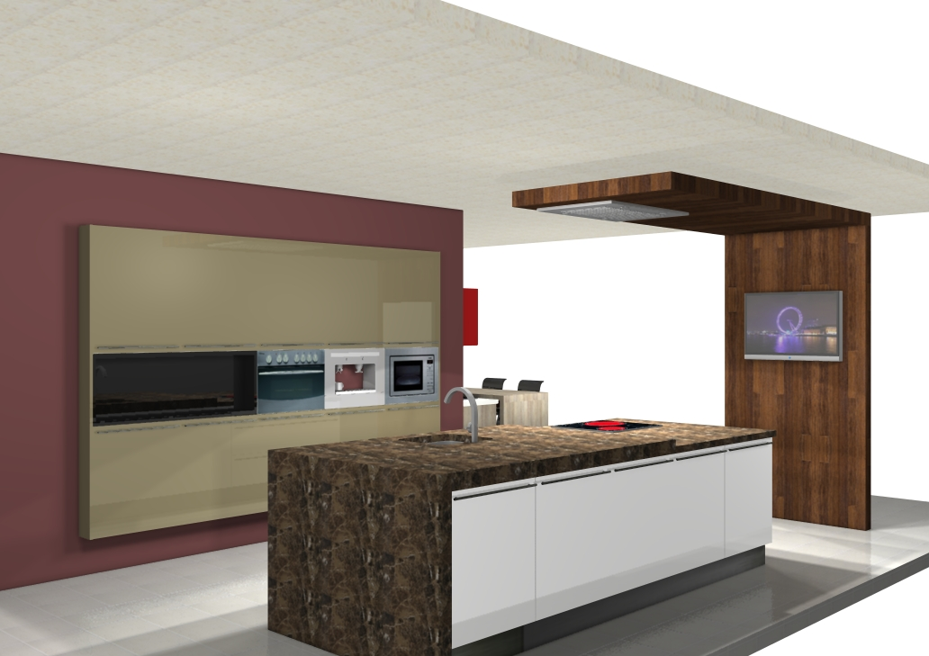 Centro kitchenmaster madrid 3d cocinlux estudio con for Software cocinas 3d