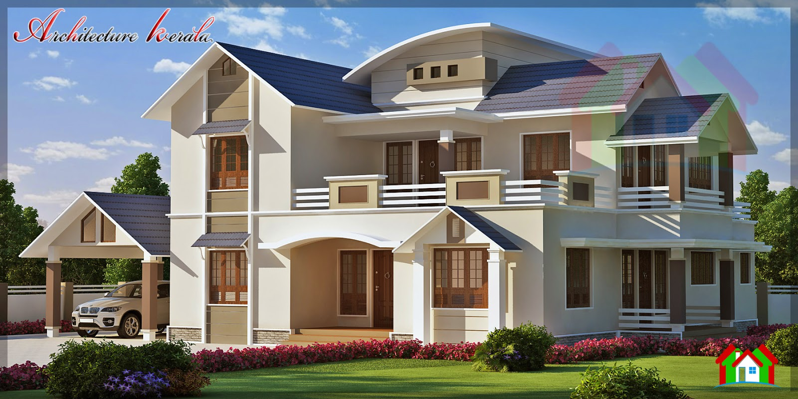 3000 sq ft beautiful sloped roof elevation architecture for 3000 sq ft house plans kerala
