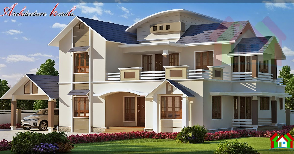 3000 sq ft beautiful sloped roof elevation architecture kerala