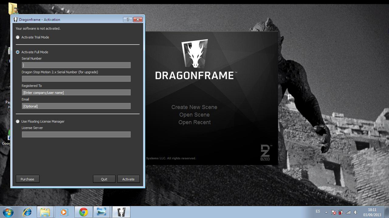activando el software mediante el serial number - Dragon Frame