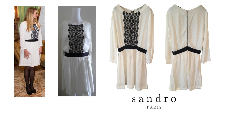 Princess Stephanie in SANDRO White-Black Lace Dress