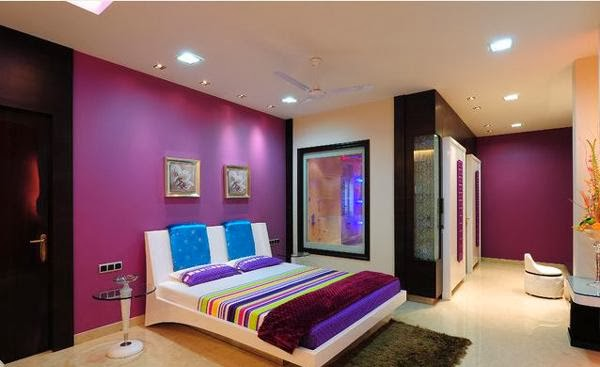 Notice How Bright Purple Color Very Well With Other Colors In This Bedroom Design Modern Is Covered By The Retro
