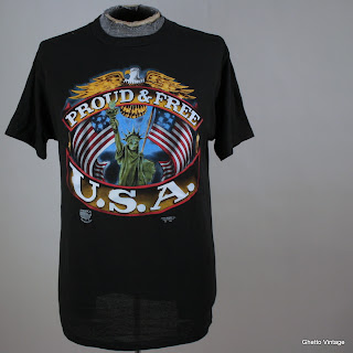 USA Proud And Free 3D Emblem t shirt LARGE Vtg 50/50 MILITARY Army Marines