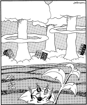 Gary Larson, Far Side: Dance of the cockroaches.