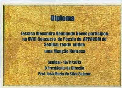 MENÇÃO HONROSA NO XVIII CONCURSO DE POESIA DA APPACDM DE SETÚBAL (NOVEMBRO 2013)