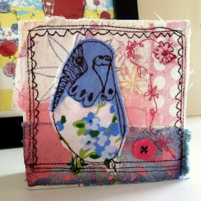 Budgie Textile Art by Jenny Blair - http://www.jennyblair.co.uk