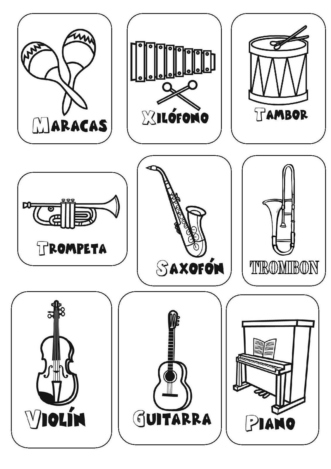 Instrumentos musicales de cuerda para colorear - Imagui