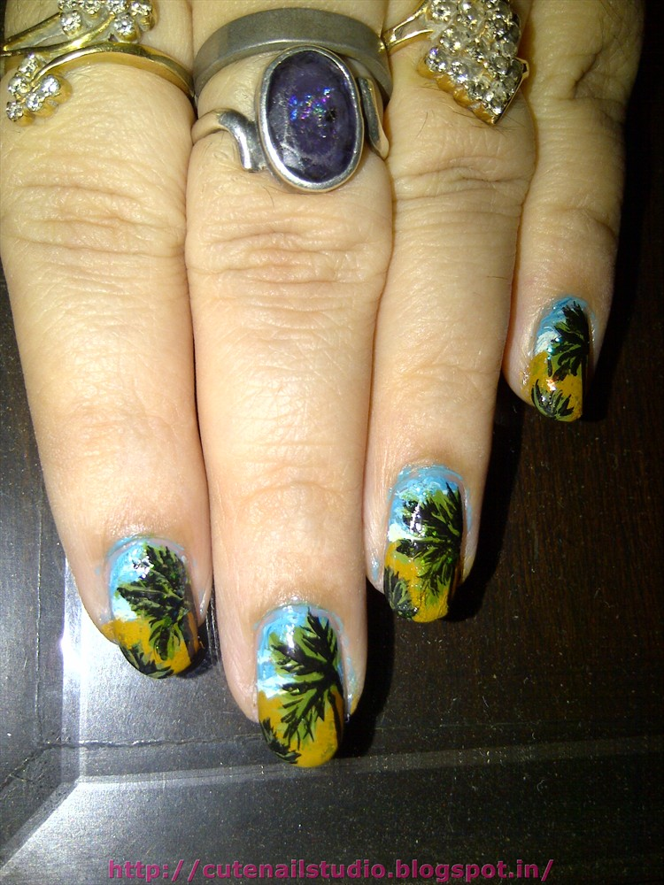 Cute nails: summer challenge:day3:island nails