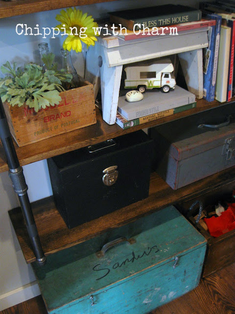 Chipping with Charm: Family Room Redo...crates and tool boxes for storage www.chippingwithcharm.blogspot.com