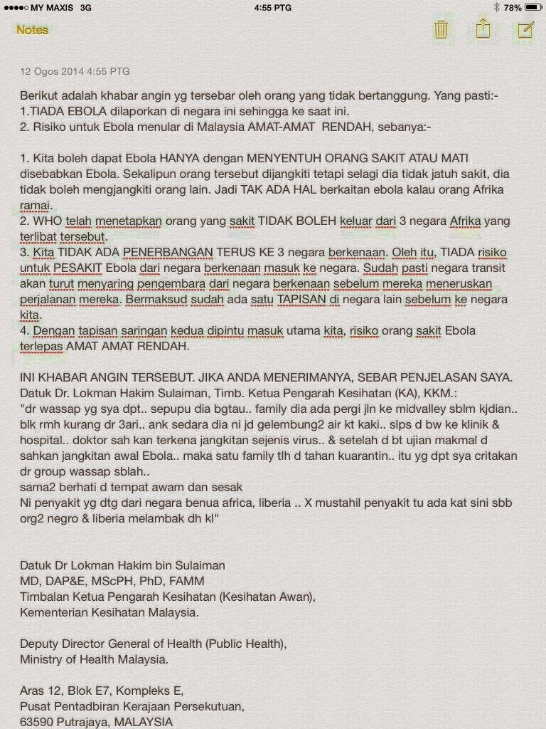 Virus | Ebola | Malaysia | Vitamin | Supplement | Kesihatan | Shaklee | Sungai Buloh | Setiawangsa