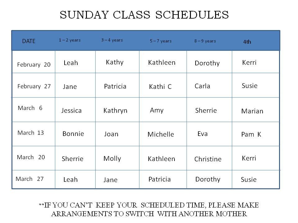 sunday school schedule template