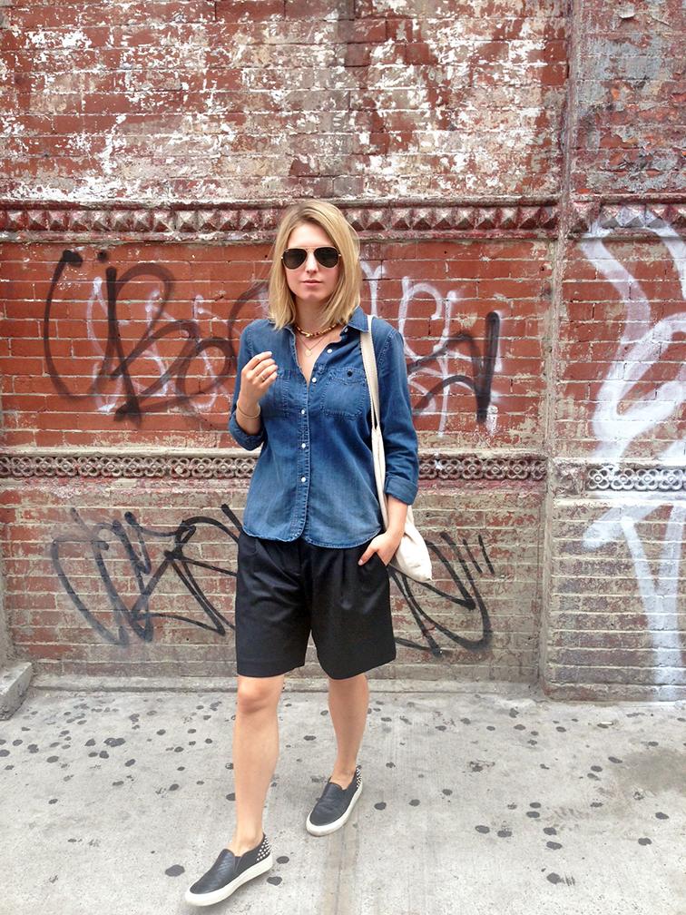 Madewell denim shirt, Tibi culottes, Sandro Anaconda slip-on sneakers, graffiti brick wall, denim and black outfit, fashion over reason ootd