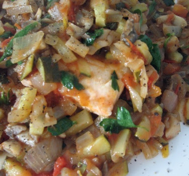 poached salmon with vegetable melange