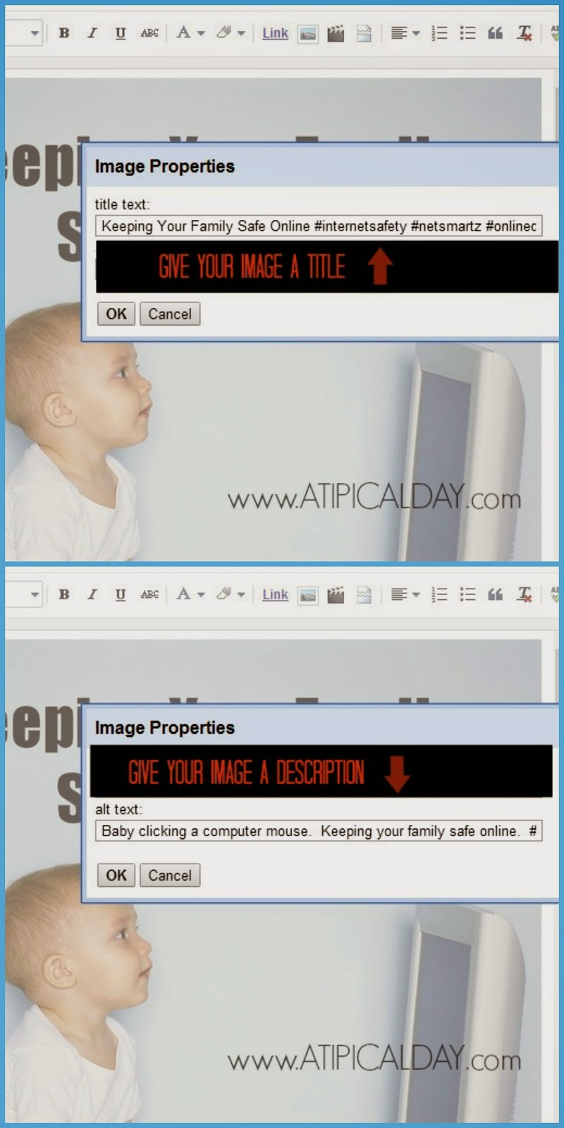 Screen shot collage for Labeling Your Images for Better SEO in Blogger / Step 2: Enter a image title Step 3: Enter an image description @atipicalday #labelingimages #blogger #seo #customizingpins #pinterest