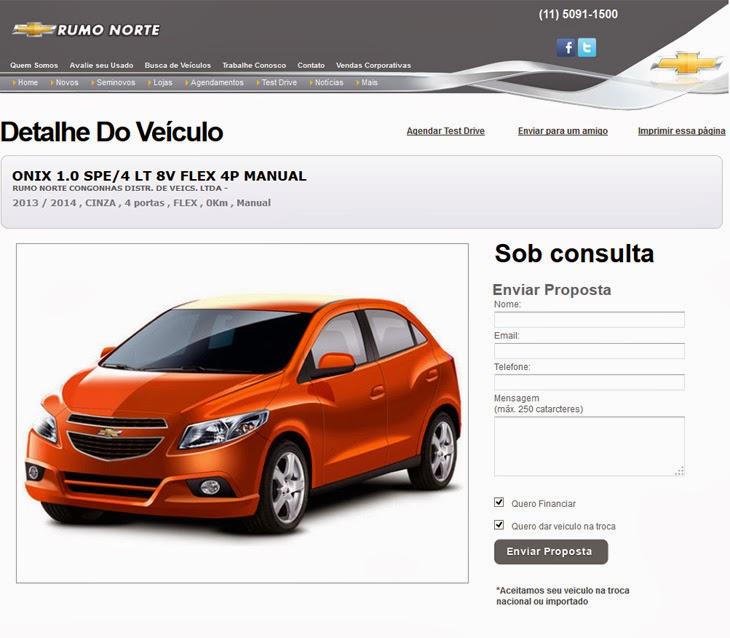 Enviar Proposta para a compra do veículo no site da Rumo Norte