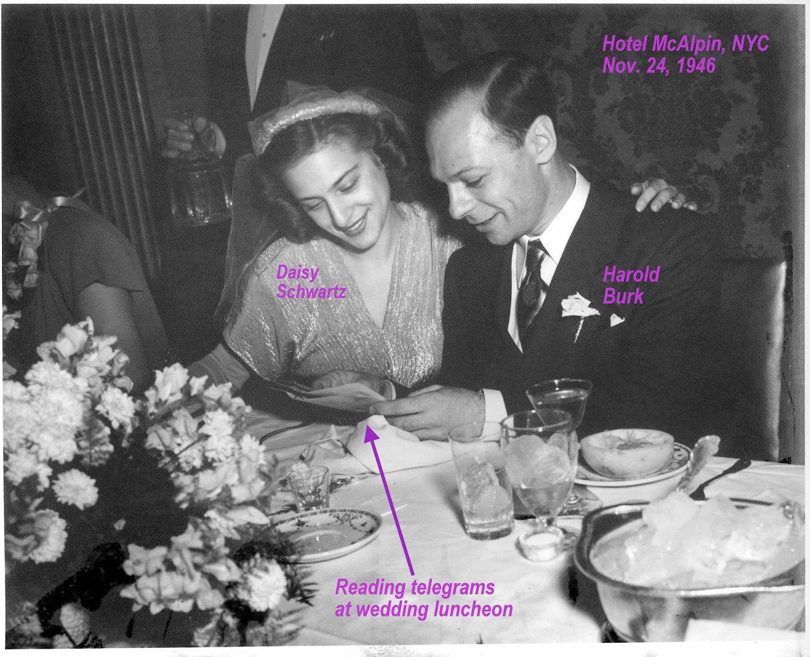 Reading telegrams at wedding