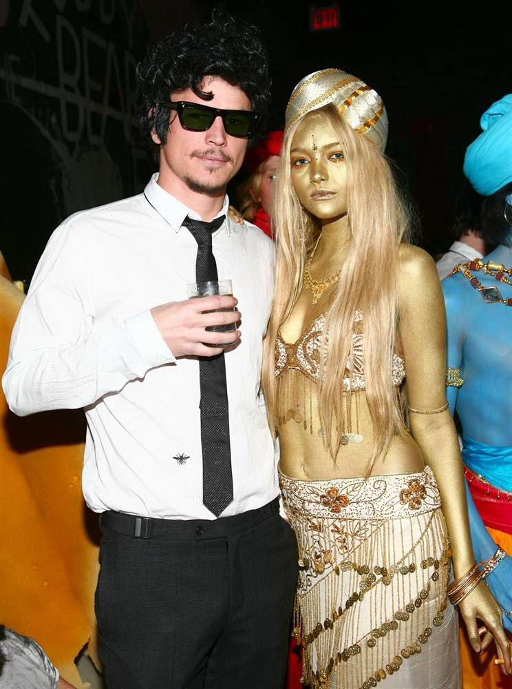 josh hartnett played it cool as folk legend bob dylan while model gemma ward unleashed her inner golden goddess at the imperia vodka halloween party at new