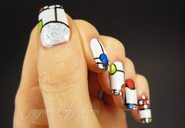 August MVP: OPI My Boyfriend Scales Walls -- Frank Lloyd Wright inspired nail art
