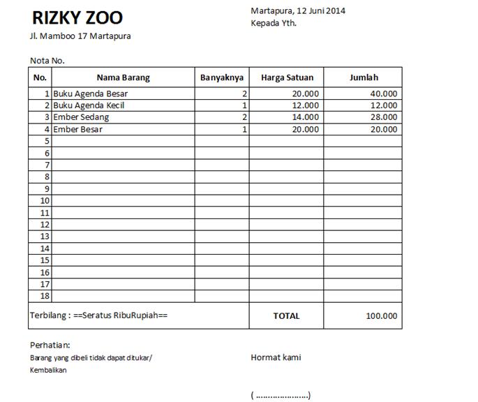 Macro In Excel Membuat Nota Penjualan