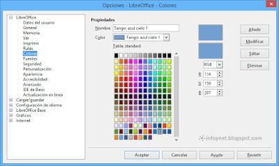 Opciones de color en LibreOffice