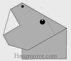 Bước 8: Vẽ mắt, vẽ mũi để hoàn thành cách xếp con Hà Mã bằng giấy origami đơn giản.