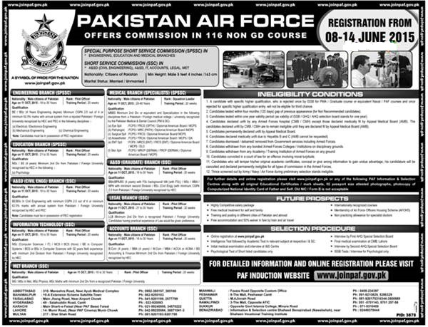 Pakistan Air Force Jobs 2015 Registration Form Download