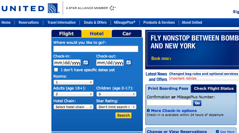 United Airlines Book Tickets Reservations On United