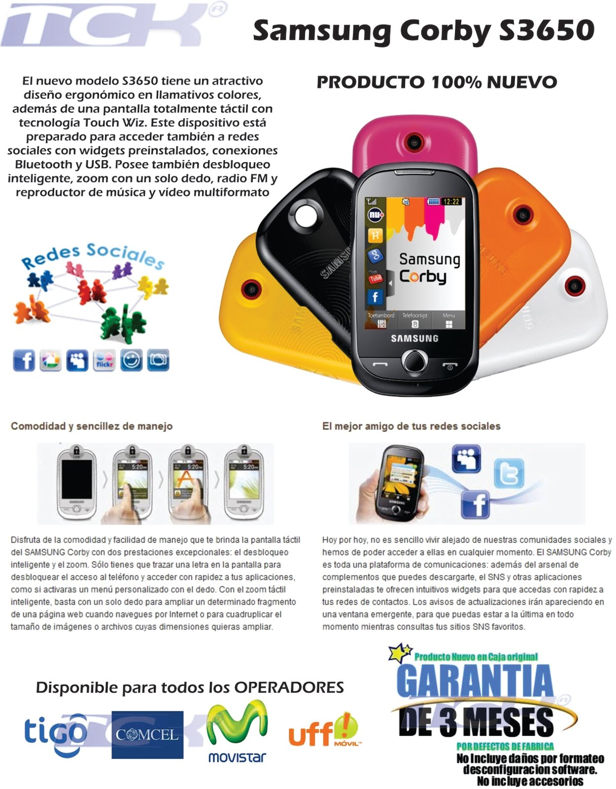 Soporte Tecnico TCK: Samsung Corby S3650