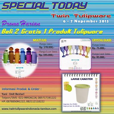 Promo Harian 2 Free 1 Tulipware, Special Today Tulipware Nopember, November 2013