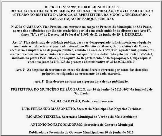 DECRETO Nº 53.986, DE 10 DE JUNHO DE 2013