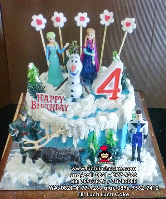 Kue Tart Ulang Tahun Tema Frozen Princess Anna and Elsa
