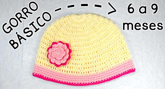 Gorro Básico a Crochet para bebé de 6 a 9 meses de edad - PATRONES ...