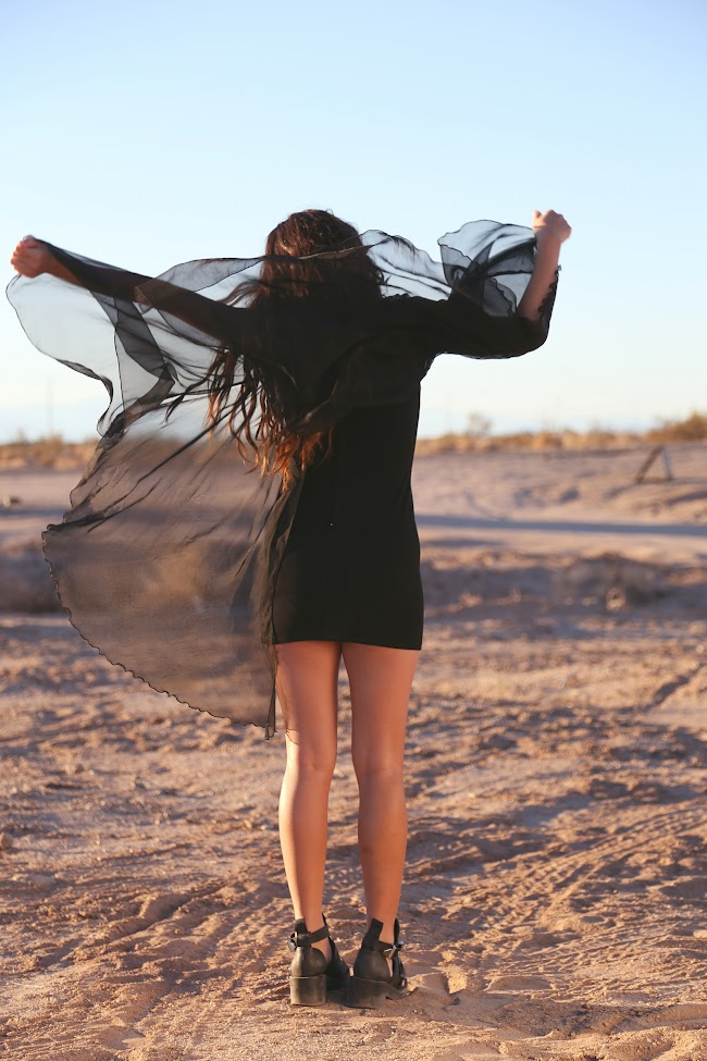 sheer, black dress, cape dress, sheer cape, unif, unif dress, desert photoshoot