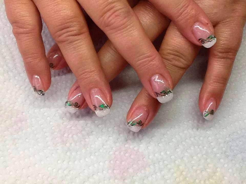 Custom gel mix and nail art with foils and LED polish