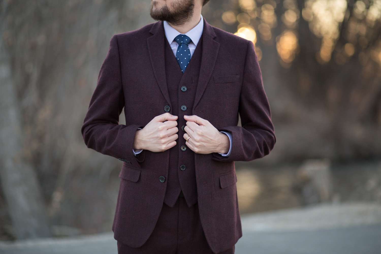 Asos Burgundy Menswear Three Piece Suit
