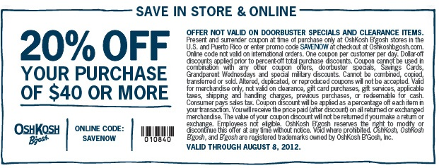 photograph regarding Oshkosh Printable Coupon identified as Discount codes for oshkosh b gosh outlet / Wcco eating out promotions