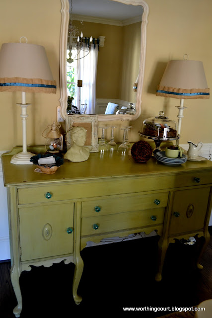 painted sideboard with crystal knobs, lamp shades with burlap ruffle and ribbon via Worthing Court blog