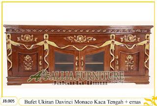Bufet Tv & Hias Ukiran Monaco Kaca emas