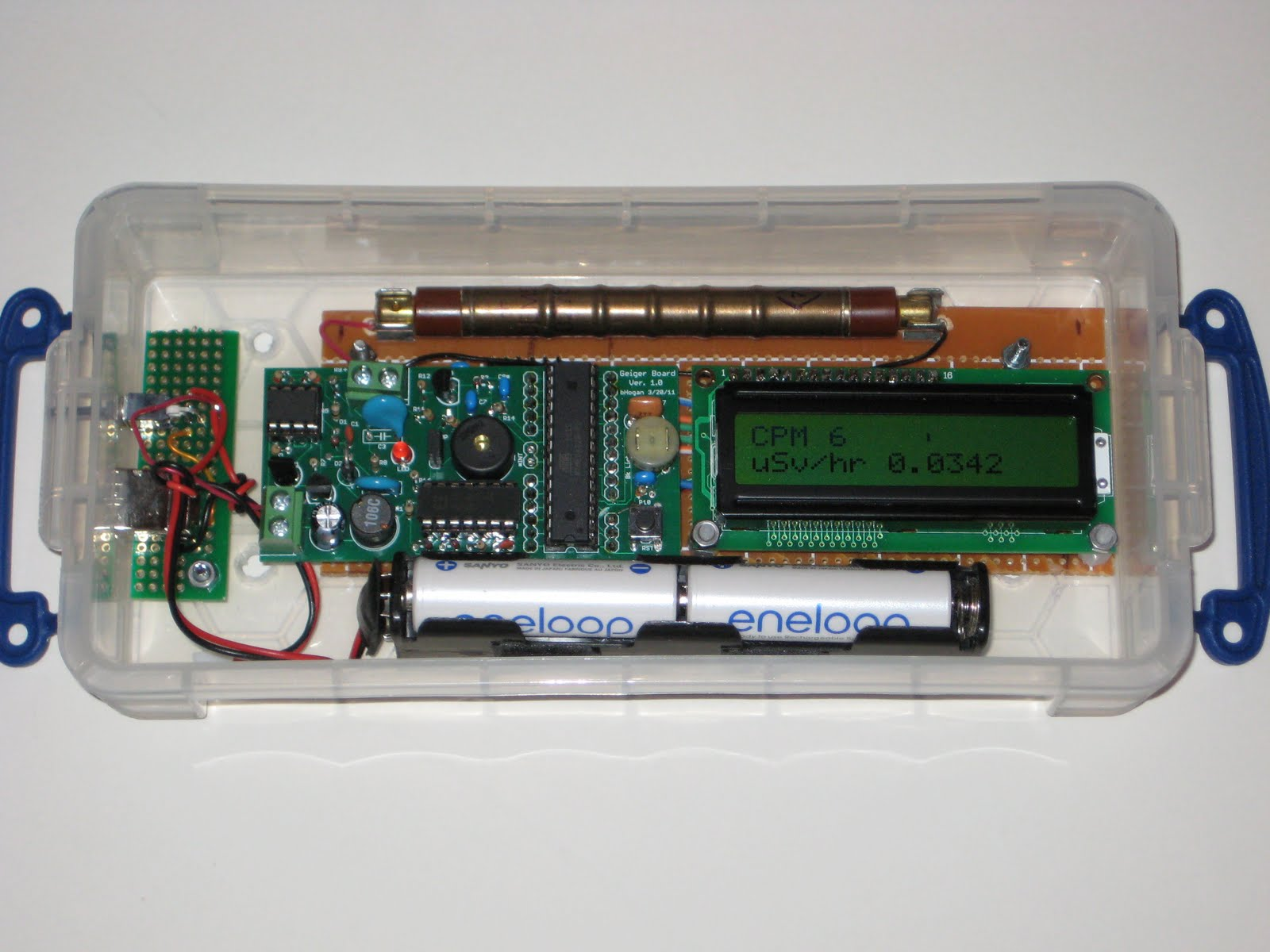Wise time with arduino diygeigercounter now completed