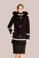 Palton negru matlasat din stofa de lana 414 (Ama Fashion)
