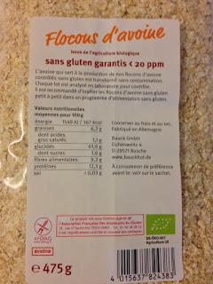 Flocons d'avoine sans gluten La Ferme biologique apports nutritionnels