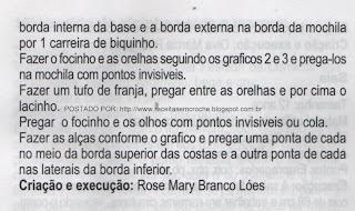 GRÁFICOS E RECEITA DE BOLSA E CHAPEU EM BARBANTE PARA CRIANÇAS