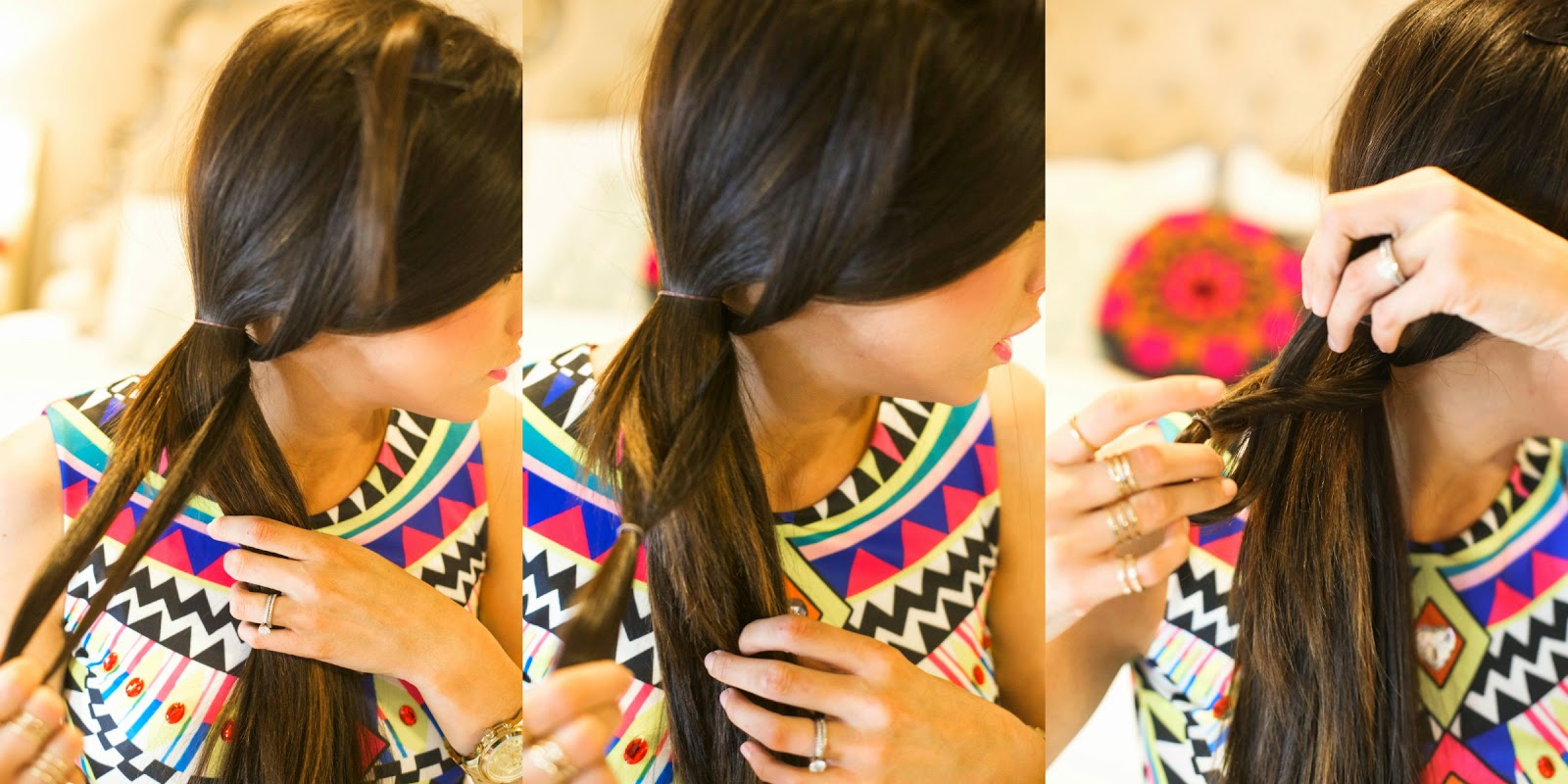 These 3 Images Show Exactly What You'll Do The Rest Of The Way Down Tie  The Braid With A Small Rubber Band