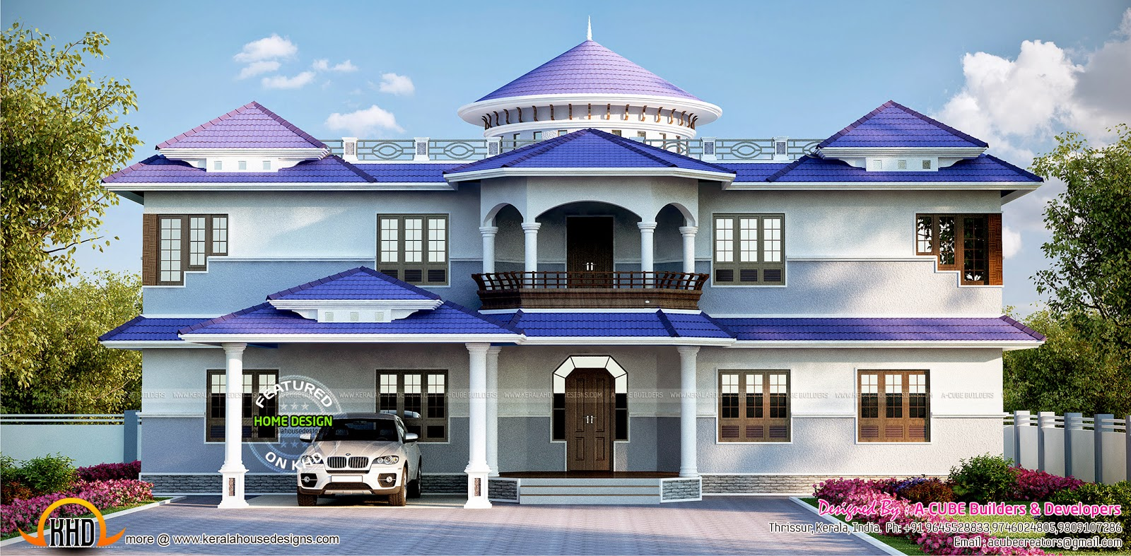 Luxury 5 Bedroom House Exterior Kerala Home Design And