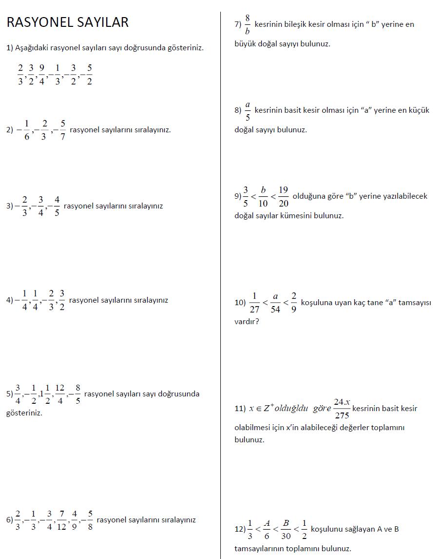7 Sınıf Matematik Rasyonel Sayılar Sıralama Soruları çalışması
