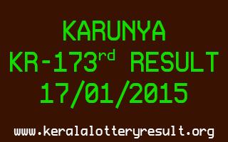 KARUNYA Lottery KR-173 Result 17-01-2015