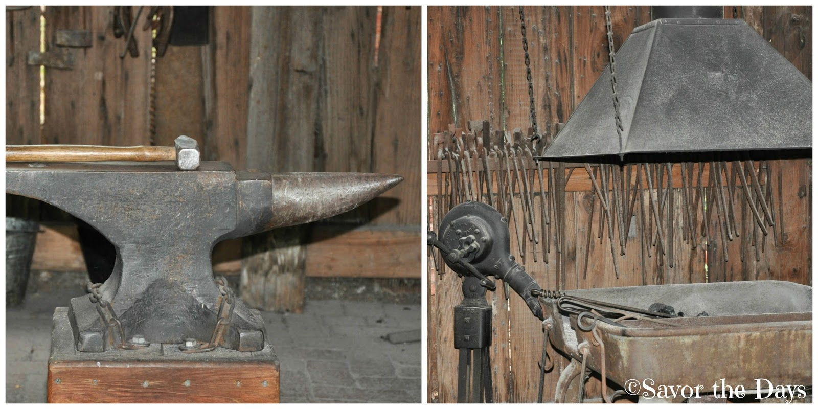 Blacksmithing tools and furnace