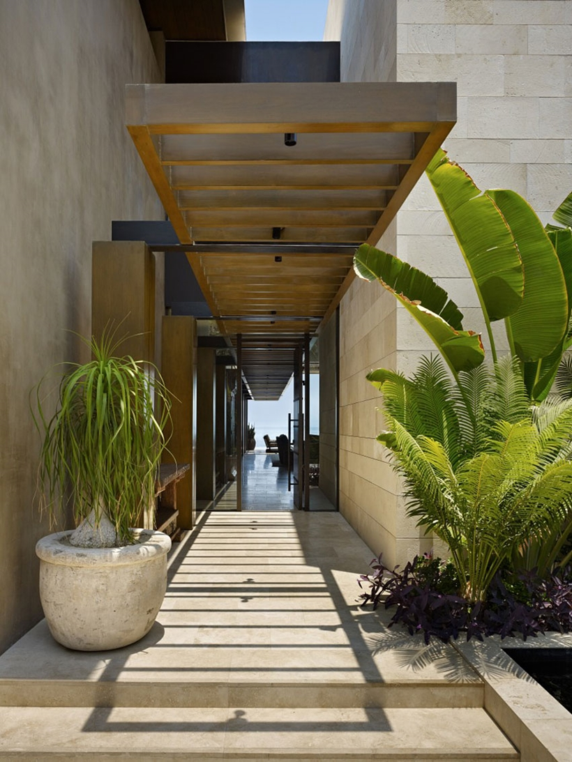 Entrance of the Gorgeous modern stone house on the beach